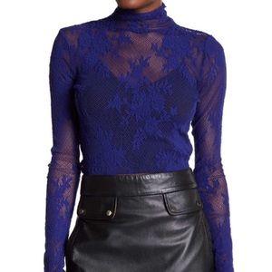 FP intimately mesh lace long sleeve turtleneck